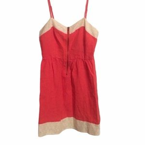 Anthropologie Petticoat Alley Coral Linen Dress XS